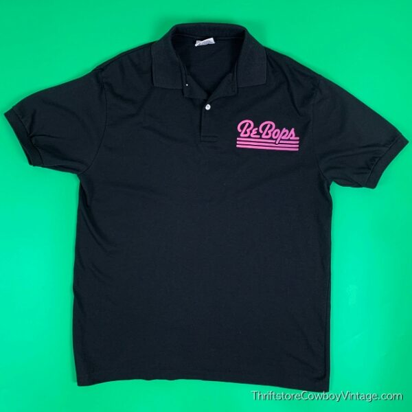 Vintage BEBOPS POLO SHIRT Night Club Chest Logo MEAT MARKET BOUNCER 1980s LARGE 2