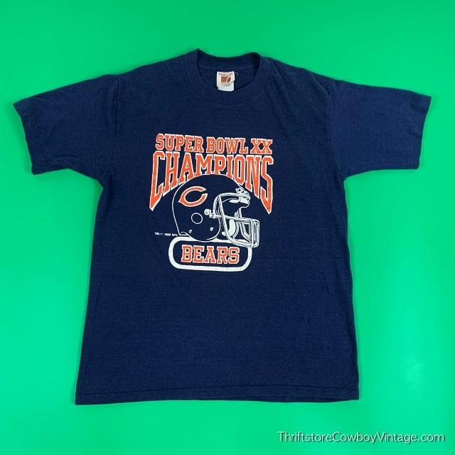 Vintage CHICAGO BEARS SUPER BOWL XX CHAMPIONS 1985 New England Patriots Logo 7 M 2