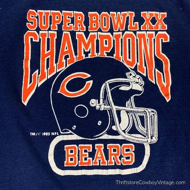 Vintage CHICAGO BEARS SUPER BOWL XX CHAMPIONS 1985 New England Patriots Logo 7 M 3