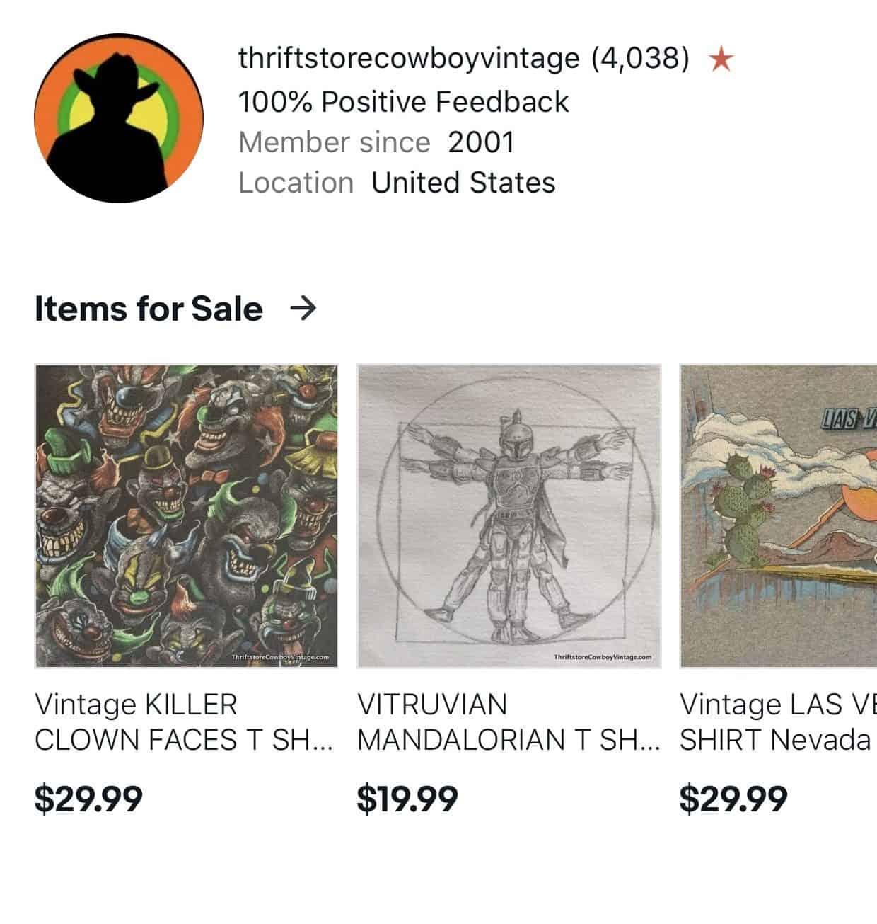 thriftstorecowboyvintage eBay Profile