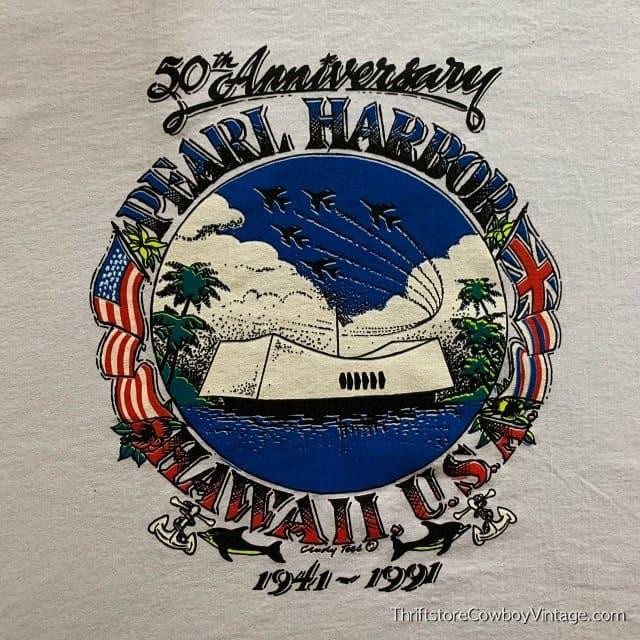Vintage PEARL HARBOR T-SHIRT 50th Anniversary 1991 WWII Hawaii XL 3