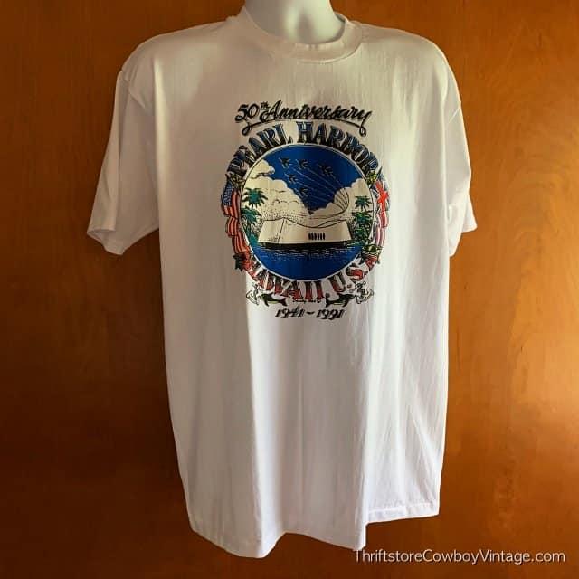 Vintage PEARL HARBOR T-SHIRT 50th Anniversary 1991 WWII Hawaii XL 4