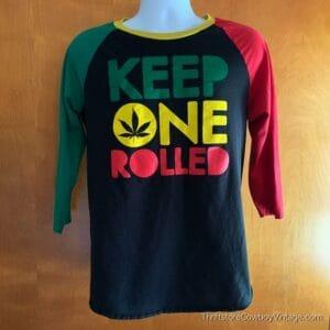 KEEP ONE ROLLED JERSEY SHIRT Wiz Khalifa Rasta Colors WEED MARIJUANA MEDIUM