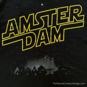 Vintage AMSTERDAM T-SHIRT Cityscape Star Wars Font NETHERLANDS 90s MEDIUM
