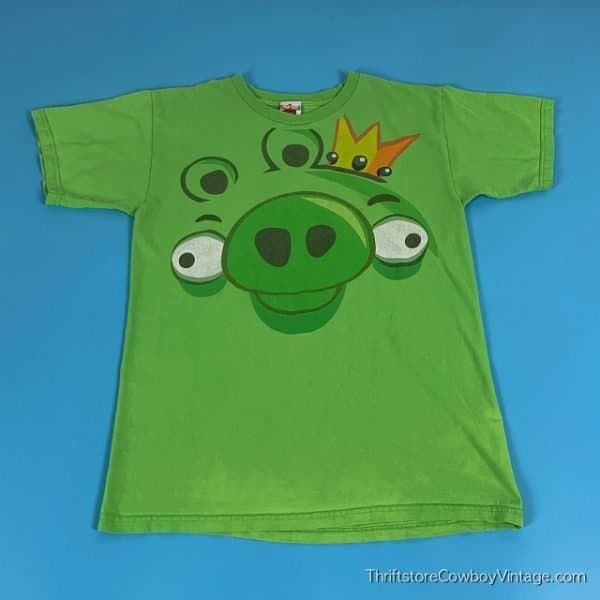 ANGRY BIRDS PIG T-SHIRT Big Face 2000s SMALL