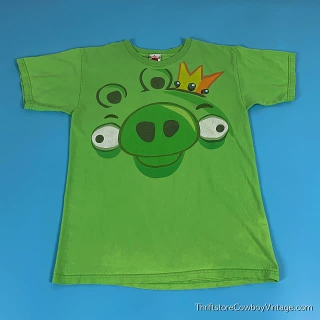 ANGRY BIRDS PIG T-SHIRT Big Face 2000s SMALL 2