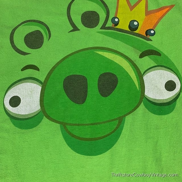 ANGRY BIRDS PIG T-SHIRT Big Face 2000s SMALL 3