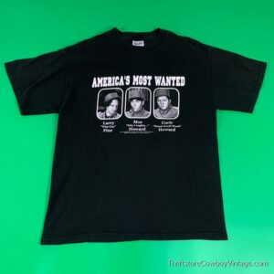 THREE STOOGES T-SHIRT Americas Most Wanted 2000s LARGE