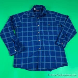 Vintage PAR FOUR BUTTON DOWN SHIRT 80s Blue Plaid MEDIUM