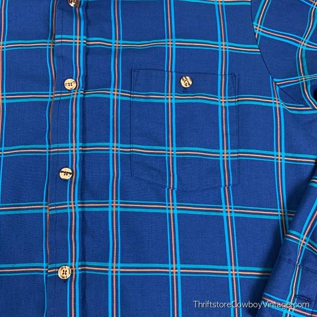 Vintage PAR FOUR BUTTON DOWN SHIRT 80s Blue Plaid MEDIUM 4