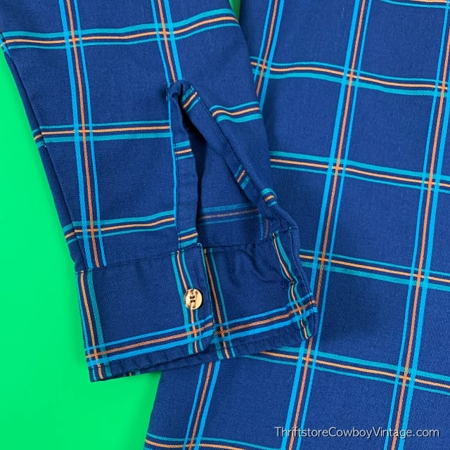 Vintage PAR FOUR BUTTON DOWN SHIRT 80s Blue Plaid MEDIUM 5