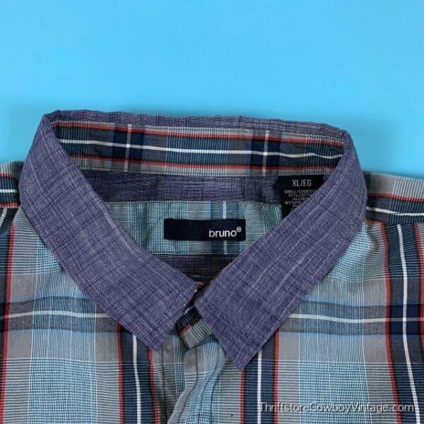 BRUNO BUTTON DOWN SHIRT Blue Plaid Pocket XL 4