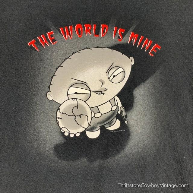 STEWIE GRIFFIN T-SHIRT World Is Mine 2004 2XL 4
