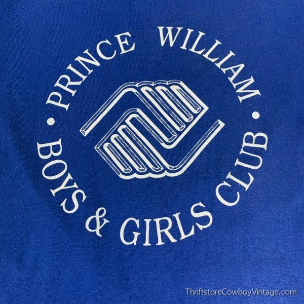 Vintage PRINCE WILLIAM BOYS & GIRLS CLUB T SHIRT 1980s Blue SMALL/XS 3