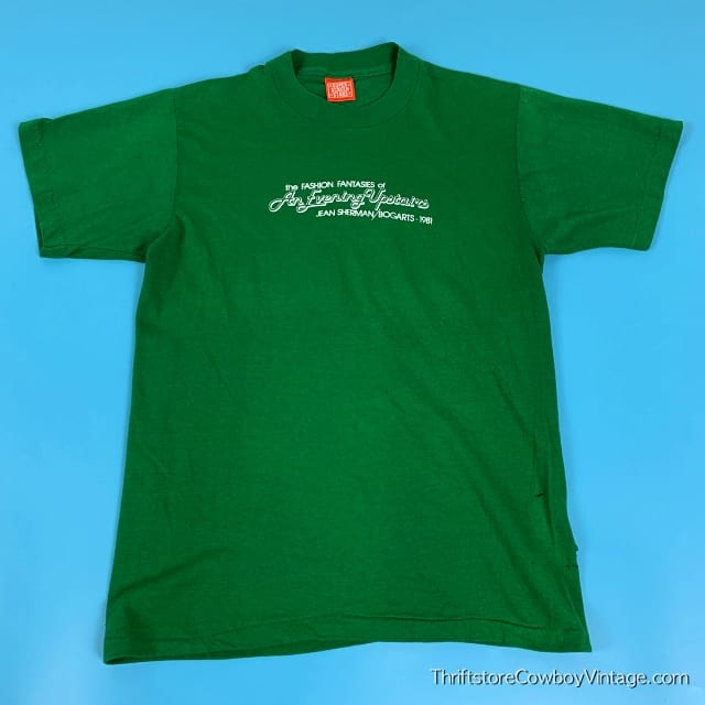Vintage THE FASHION FANTASIES OF AN EVENING UPSTAIRS T SHIRT Jean Sherman Bogarts 1981 SMALL 2