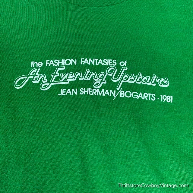 Vintage THE FASHION FANTASIES OF AN EVENING UPSTAIRS T SHIRT Jean Sherman Bogarts 1981 SMALL 3
