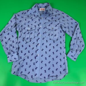 Vintage CHARIOTS PRINT WESTERN SHIRT 1970s JHelum Tailored SPARTACUS LARGE