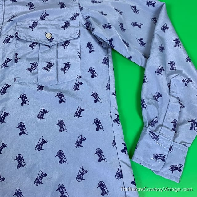 Vintage CHARIOTS PRINT WESTERN SHIRT 1970s JHelum Tailored SPARTACUS LARGE 3