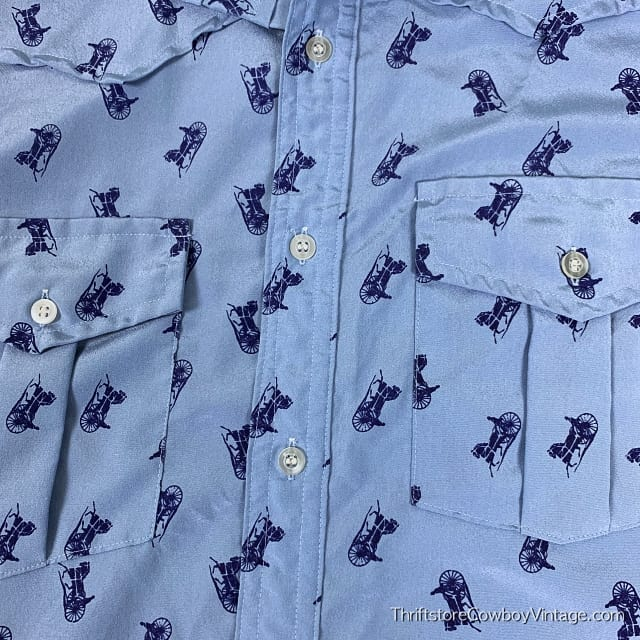 Vintage CHARIOTS PRINT WESTERN SHIRT 1970s JHelum Tailored SPARTACUS LARGE 5