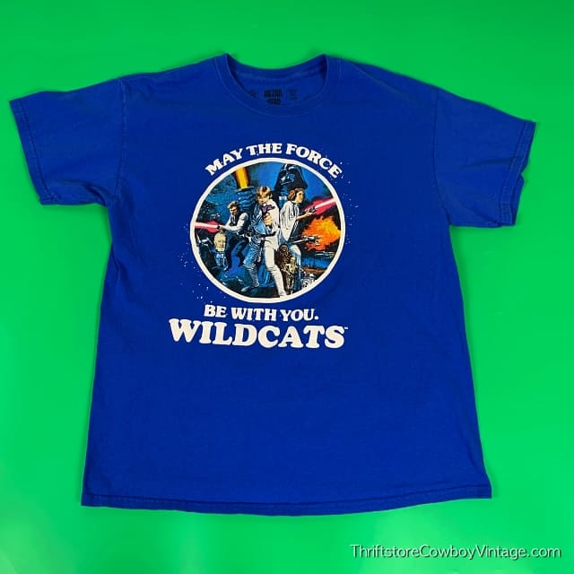 STAR WARS T-SHIRT May the Force Be With You Reprint WILDCATS LARGE 3