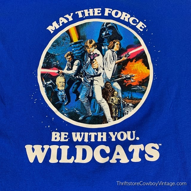 STAR WARS T-SHIRT May the Force Be With You Reprint WILDCATS LARGE 4
