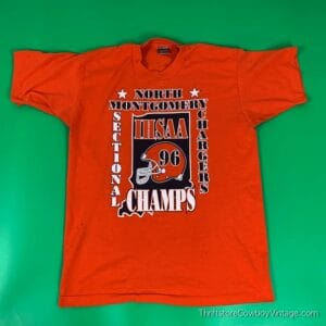 Vintage 1996 NORTH MONTGOMERY CHARGERS T-SHIRT IHSAA Sectional Champs LARGE