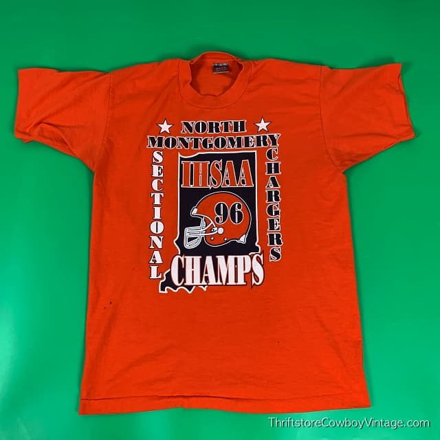 Vintage 1996 NORTH MONTGOMERY CHARGERS T-SHIRT IHSAA Sectional Champs LARGE 3