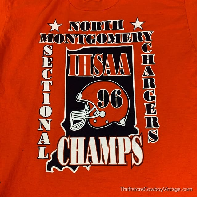 Vintage 1996 NORTH MONTGOMERY CHARGERS T-SHIRT IHSAA Sectional Champs LARGE 4