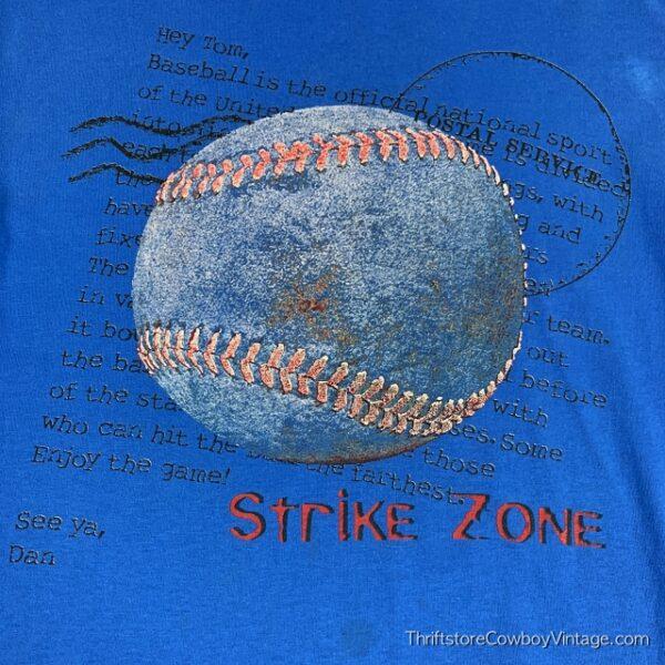 Vintage STRIKE ZONE BASEBALL T-SHIRT 80s MEDIUM 3