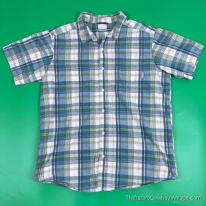 COLUMBIA SPORTSWEAR SHIRT Plaid Blue Green LARGE