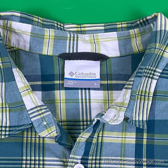 COLUMBIA SPORTSWEAR SHIRT Plaid Blue Green LARGE 3