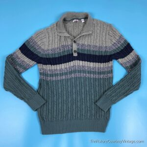 IZOD CABLE KNIT STRIPED SWEATER Navy Blue Teal Green MEDIUM 2