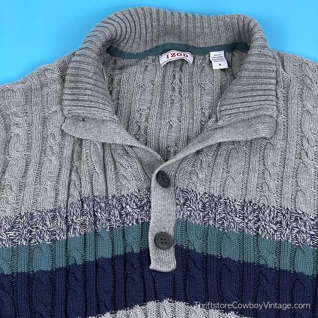 IZOD CABLE KNIT STRIPED SWEATER Navy Blue Teal Green MEDIUM 3