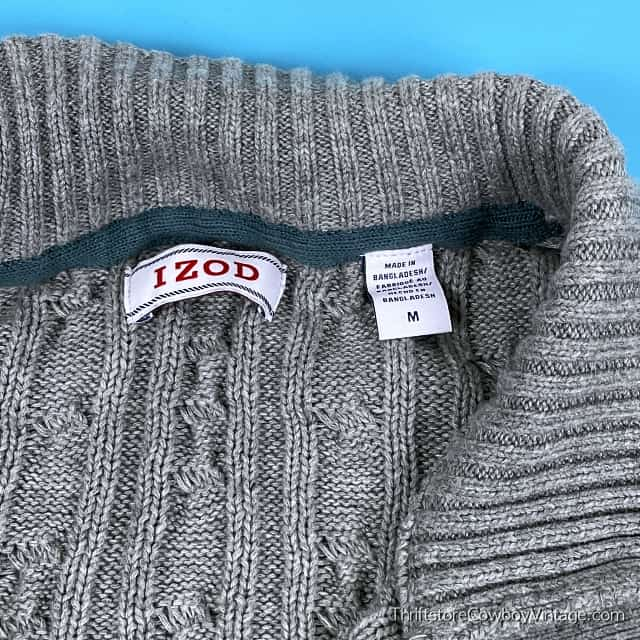IZOD CABLE KNIT STRIPED SWEATER Navy Blue Teal Green MEDIUM 4
