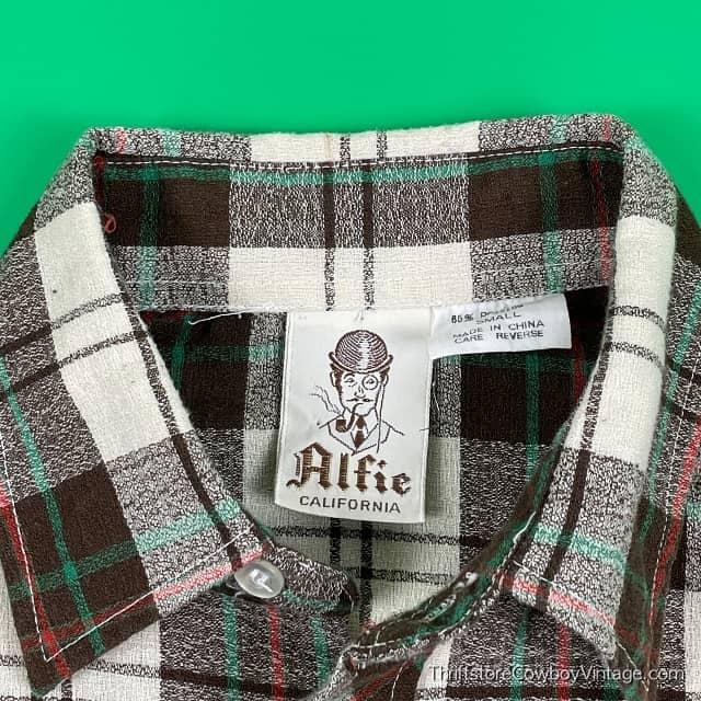 Vintage 70s ALFIE CALIFORNIA PLAID SHIRT S/XS 6