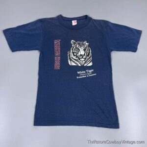 KIDS Vintage 80s BUSCH GARDENS T-SHIRT White Tiger Youth Large 14-16