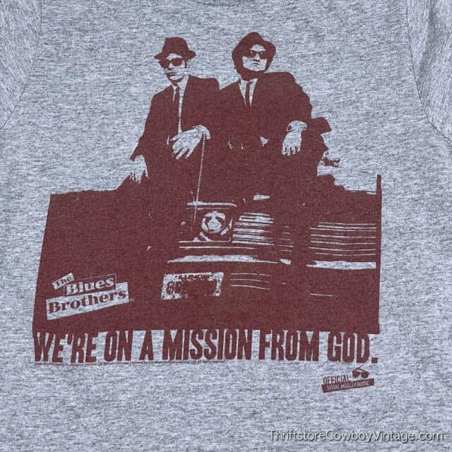 2000s BLUES BROTHERS MOVIE T-SHIRT Mission From God Reprint SMALL 4