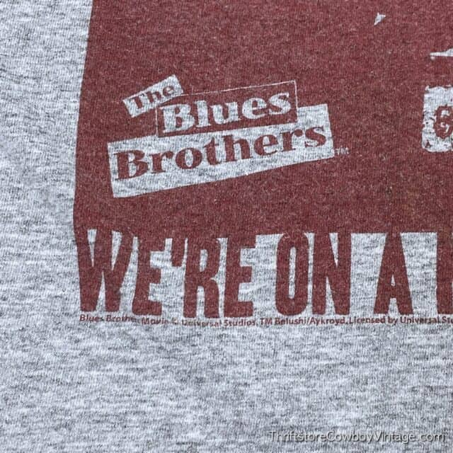 2000s BLUES BROTHERS MOVIE T-SHIRT Mission From God Reprint SMALL 6