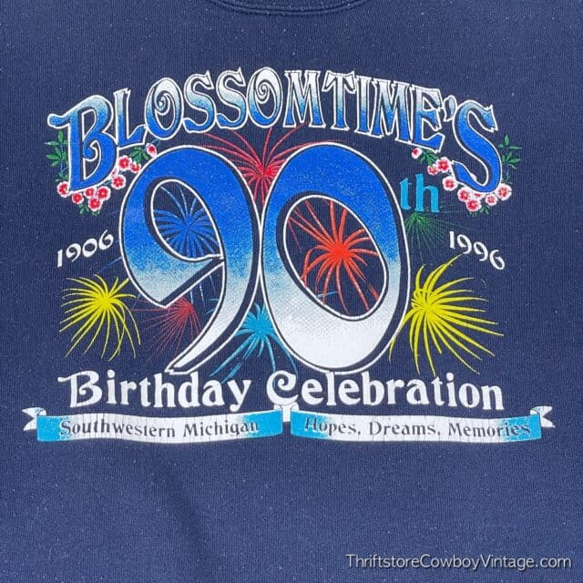 Vintage 1996 BLOSSOMTIME FESTIVAL SWEATSHIRT 90th Birthday Celebration XL 4