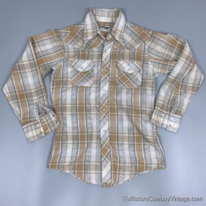 Vintage 80s JC PENNEY WESTERN SHIRT Beige Plaid SMALL