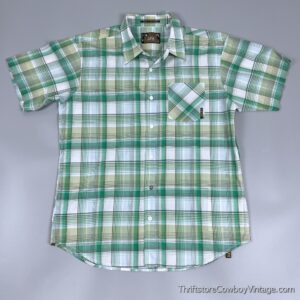 Vintage 90s LOST GREEN PLAID SHIRT … WELL TAILORED M