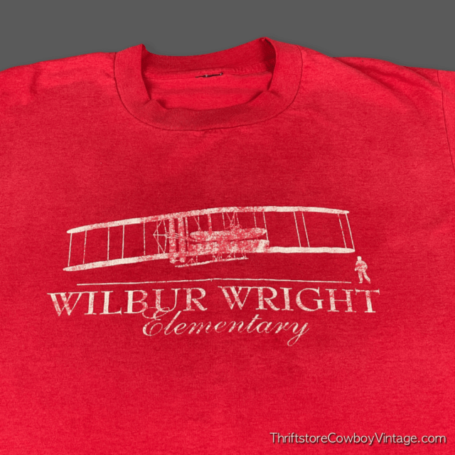Vintage 80s WILBUR WRIGHT ELEMENTARY SCHOOL T-SHIRT LARGE 4