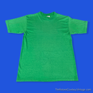 Vintage 80s BLANK T-SHIRT Green National Tag SMALL