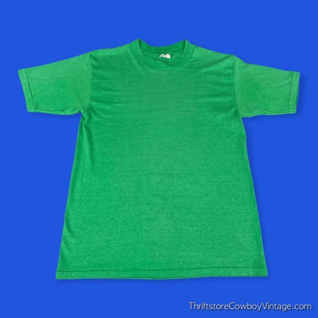Vintage 80s BLANK T-SHIRT Green National Tag SMALL 3