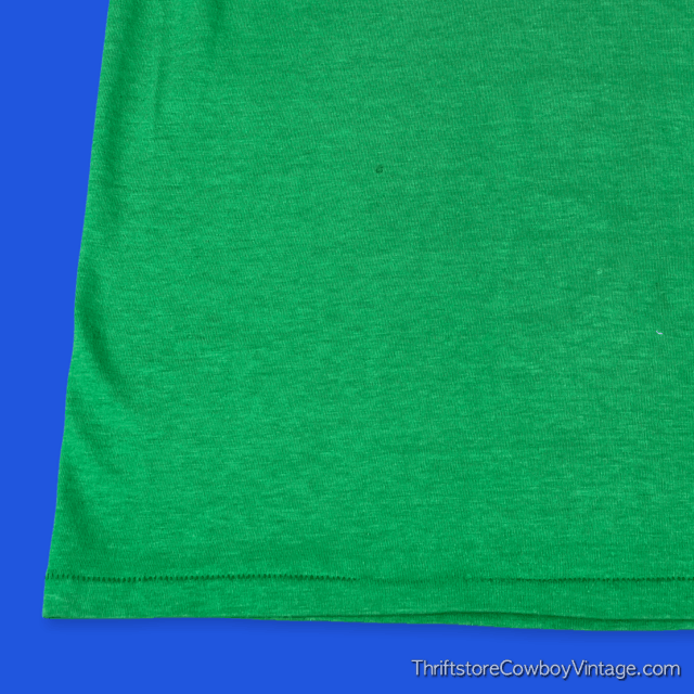 Vintage 80s BLANK T-SHIRT Green National Tag SMALL 7