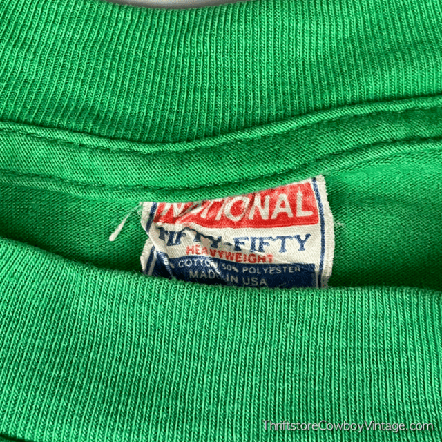 Vintage 80s BLANK T-SHIRT Green National Tag SMALL 6