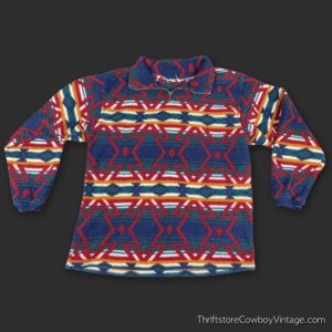 Vintage 90s SOUTHWEST PRINT FLEECE SWEATSHIRT Pullover Zip Neck MEDIUM