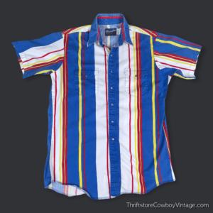 Vintage 80s WRANGLER WESTERN SHIRT Superman Colors LARGE